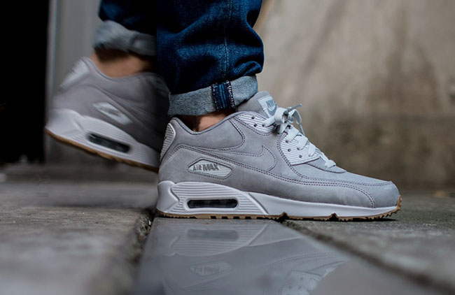 nike air max 90 leather premium grise SEG0 0n9vTSm